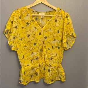 Joie Yellow Floral Silk Blouse